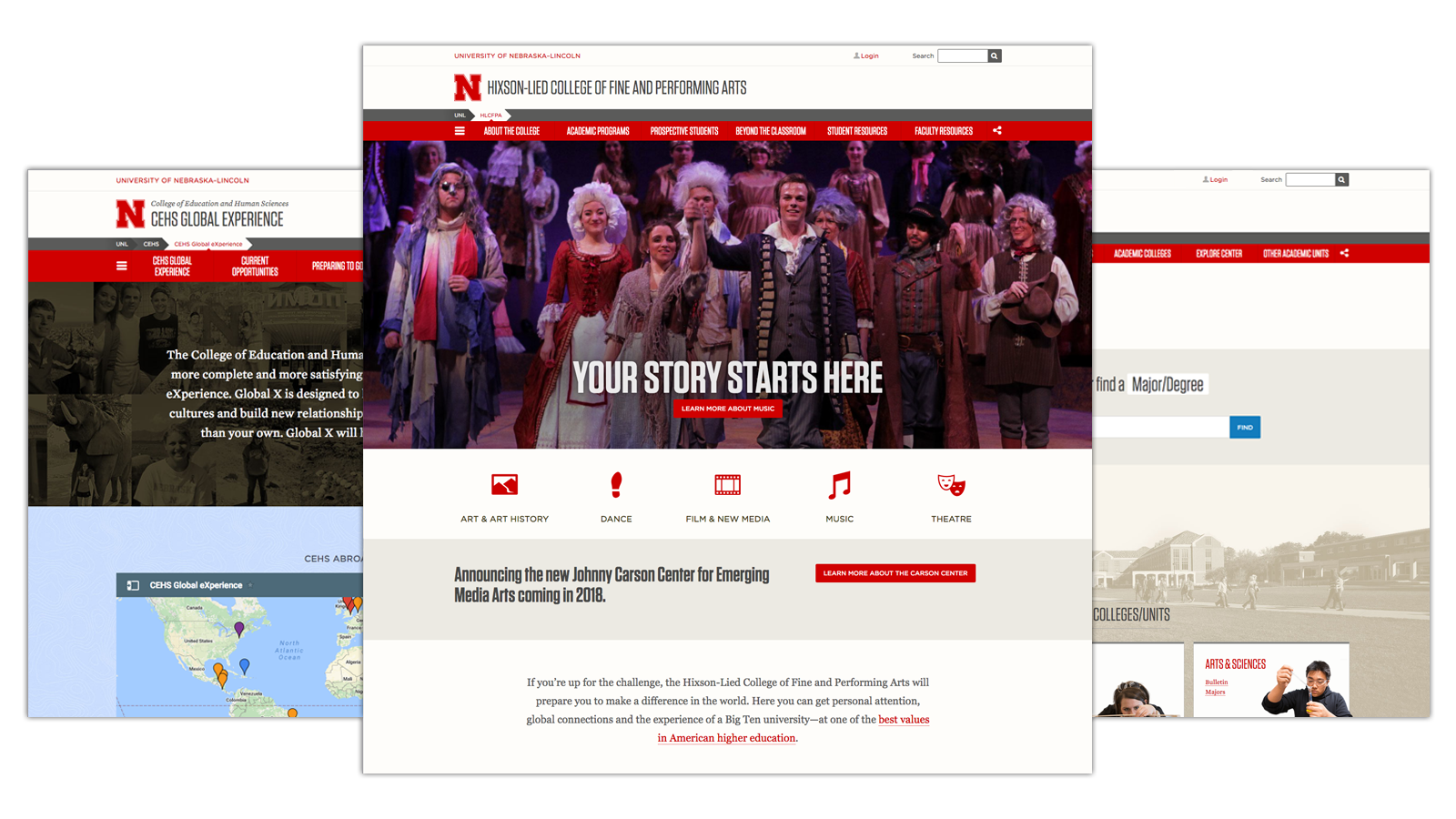 Screenshots of three Nebraska websites.